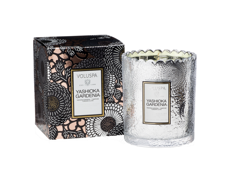 Yashioka Gardenia Scalloped Candlepot Scented Candle