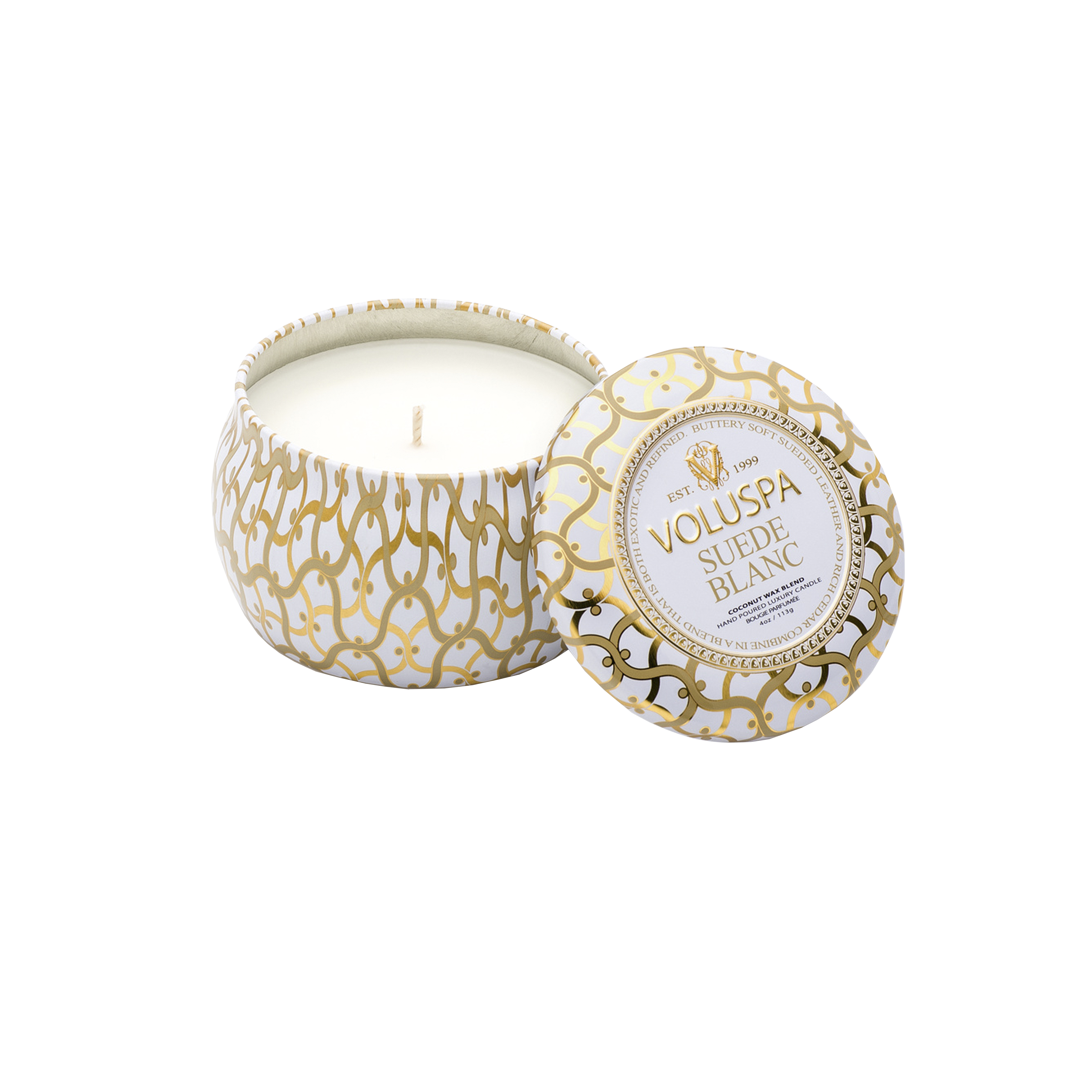Suede Blanc Decorative Tin Scented Candle