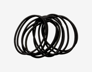 Thin Hair Elastics Black 10-pack