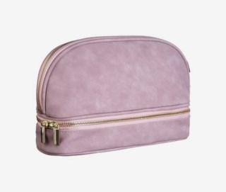 Double Layer Makeup Bag Faux Suede